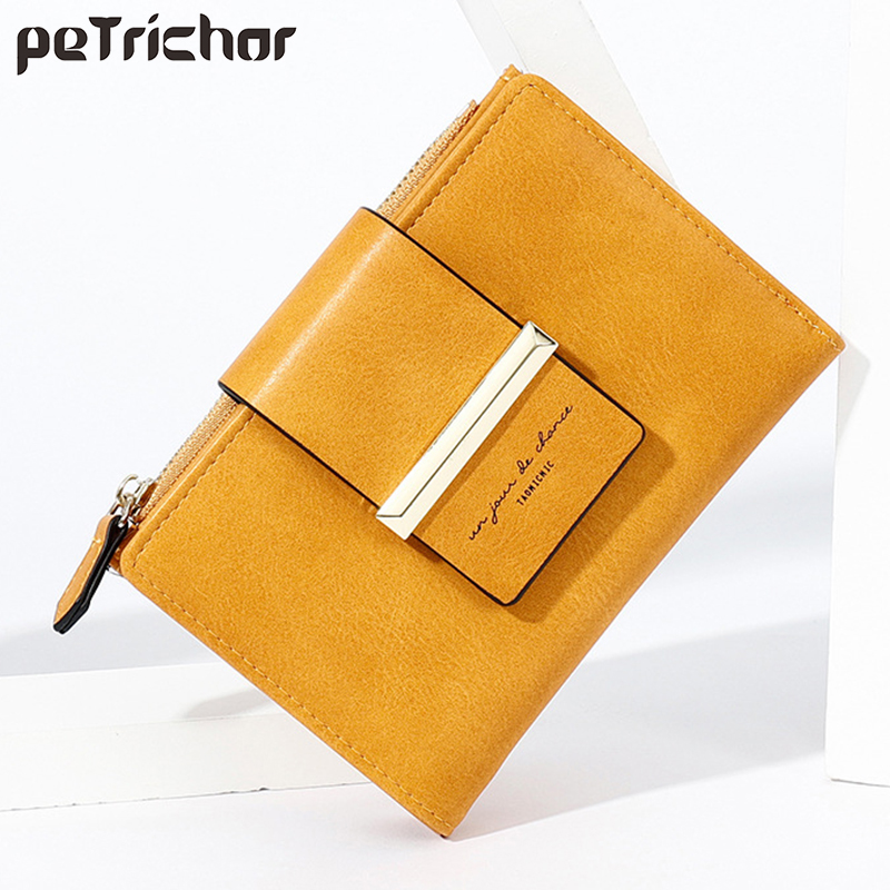 New Women Small Wallet Leather Female Purse Mini Hasp Solid Multi-Cards Holder Retro Coin Short Wallets Zipper Yellow Money Bag