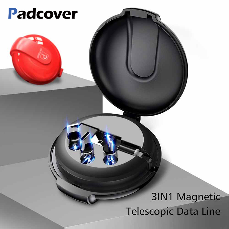 PADCOVER New Magnetic USB Cable for iPhone Micro C Magnet Charger Retractable cable Samsung Xiaomi Huawei