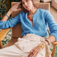 2020 Autumn and Winter New Pattern Women's Fashion and Leisure Delicate Hollow Puff Sleeve Crochet Versatile Mohair Cardigan