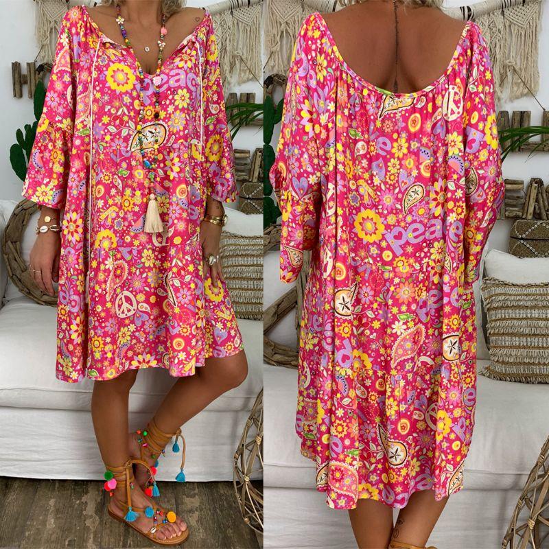 Helisopus yaz artı boyutu kadınlar Boho çiçek baskı elbise rahat gevşek derin V boyun tatil plaj gömlek elbise Vestido