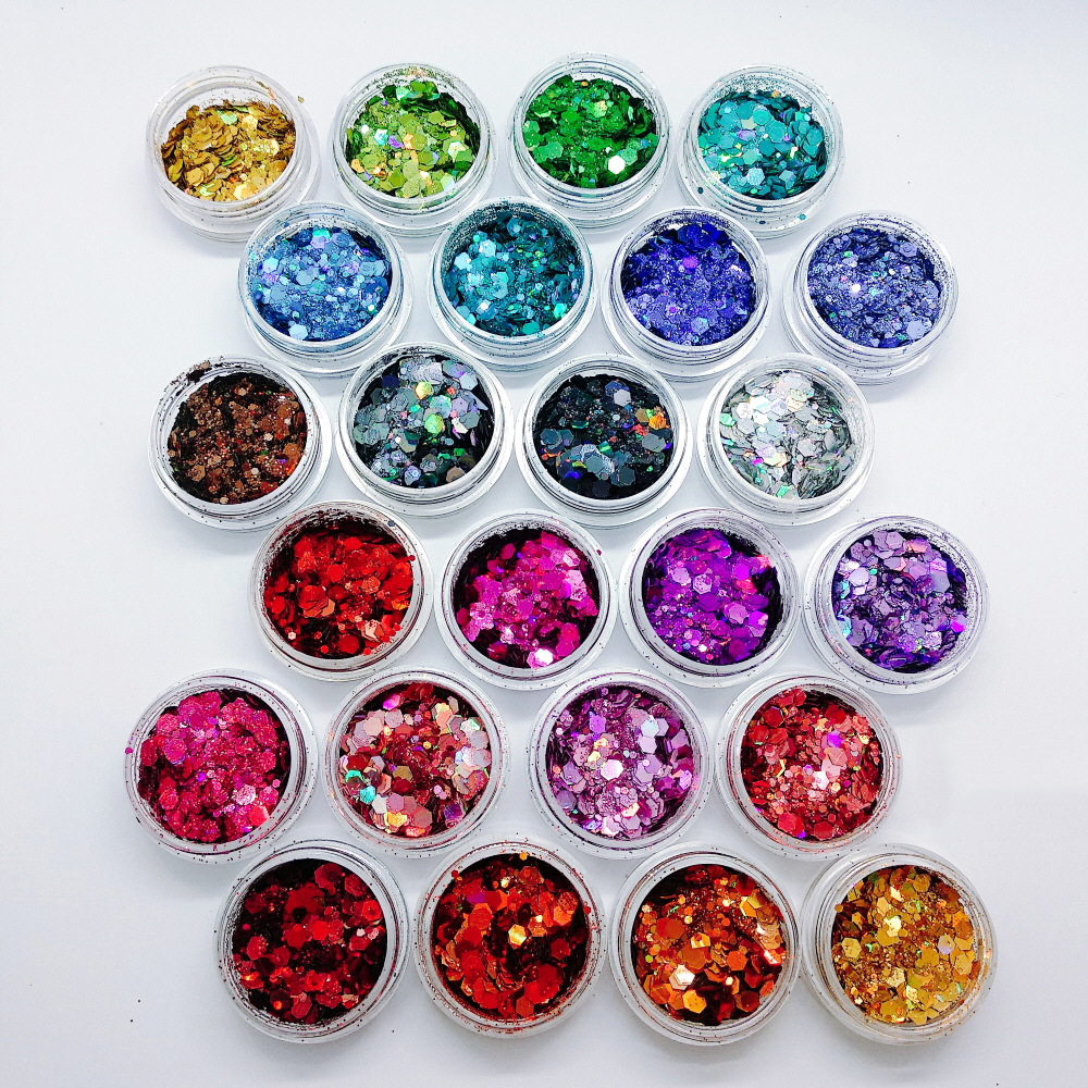 Holographic Chunky Glitter 24 Colors Total 140g Face Body Eye Hair Nail Festival Chunky Holographic Glitter