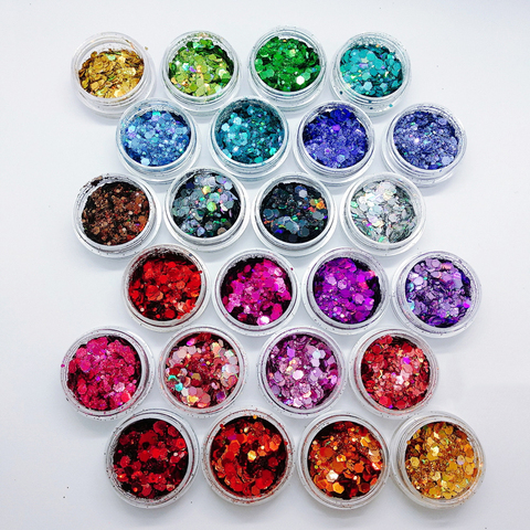 Holographic Chunky Glitter 24 Colors Total 140g Face Body Eye Hair Nail Festival Chunky Holographic Glitter Pakistan