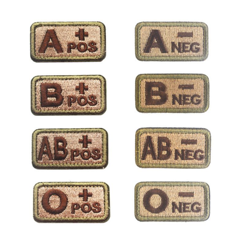 2 PCS 2.6*5CM Outdoor Tactical Military Badge Blood Type Patch Military Blood Type Patch Embroidered Morale