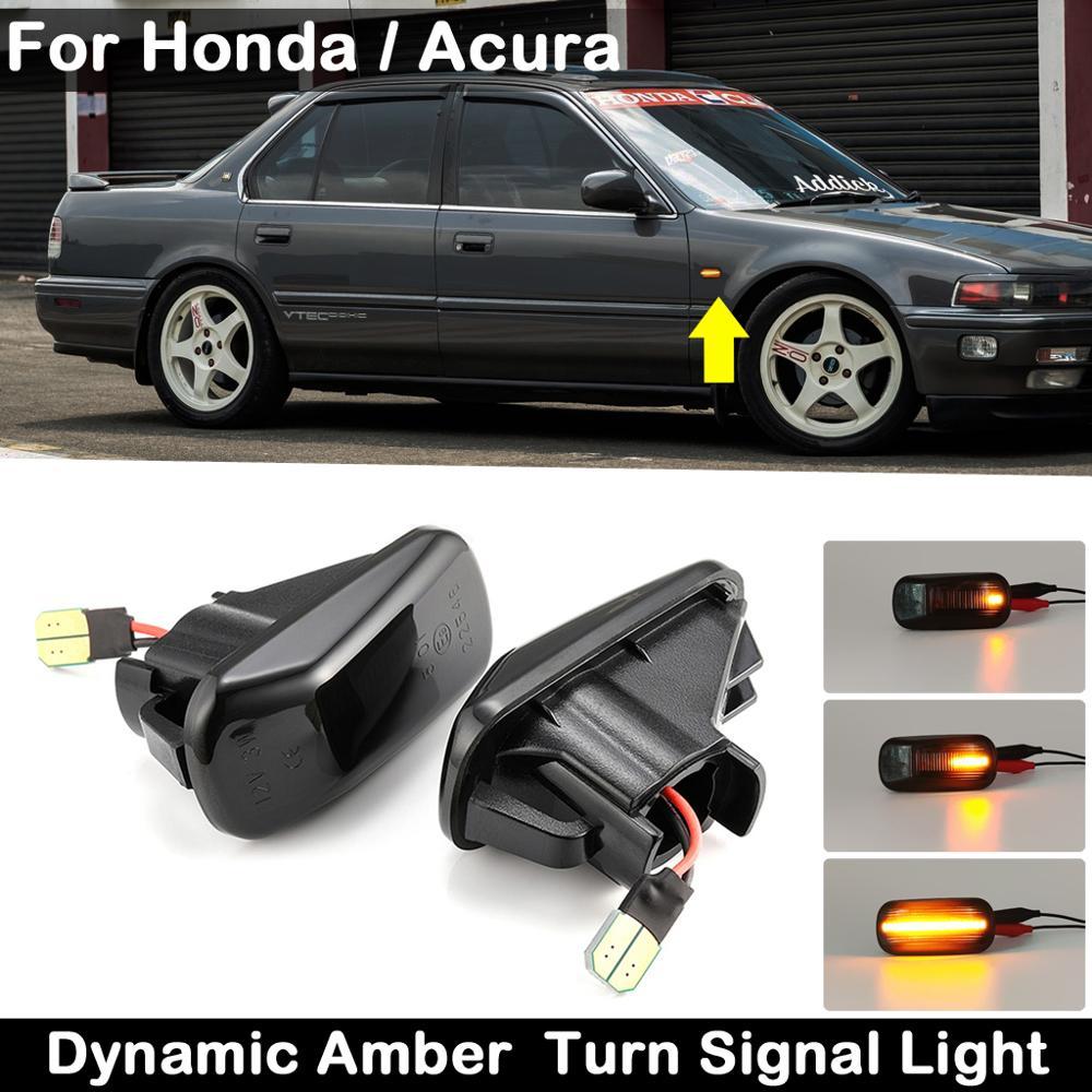 Lámpara LED de intermitente ámbar dinámico para Honda Accord Civic S2000, para Acura Integra RSX NSX, lente ahumada, indicador lateral, 2 uds.