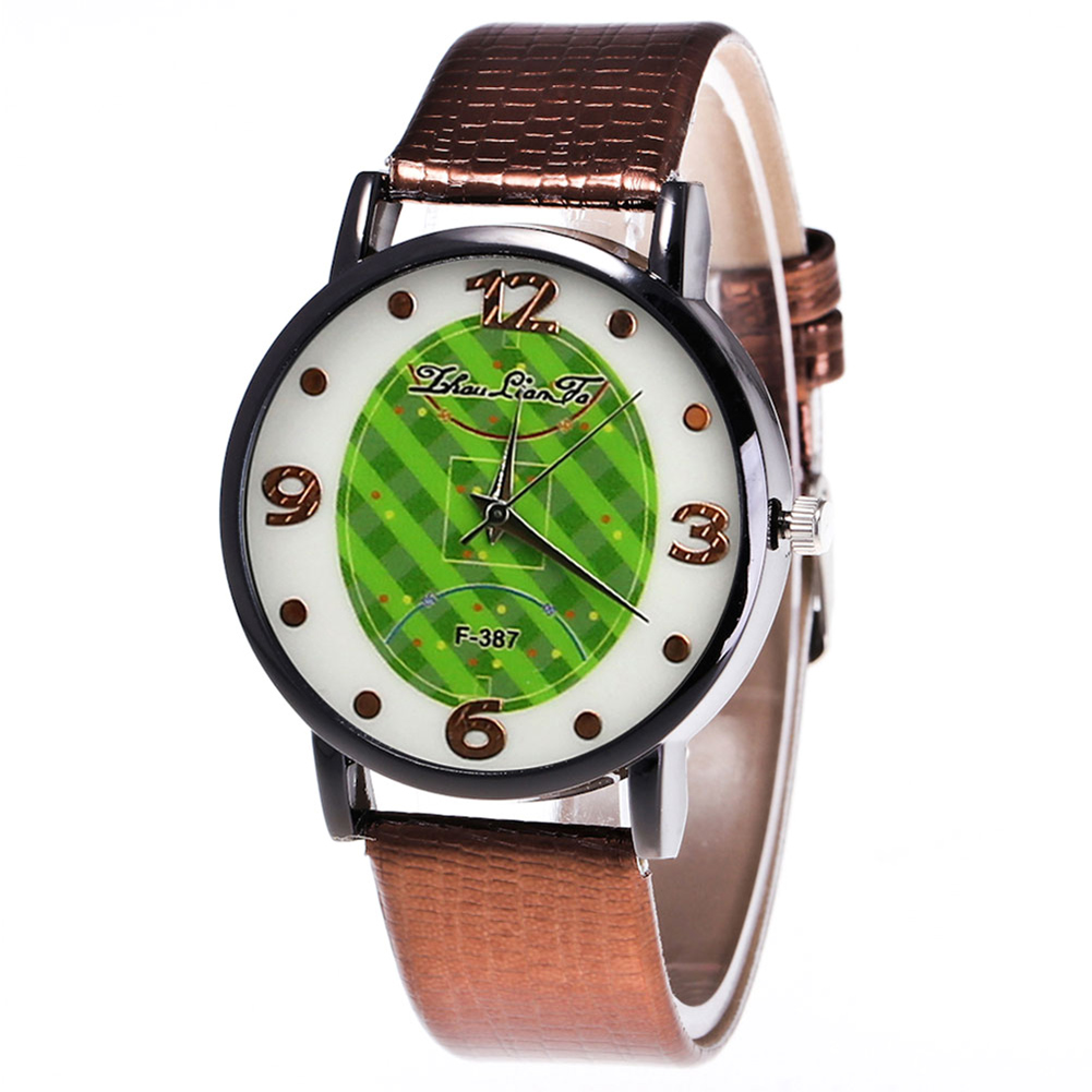 Football Field Pattern Quartz Watch Korean Style Women Student Couple Watch Fashion Round Dial Leather Strap Men  LL@17