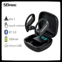 SDpure TWSBT5.0 אוזניות אוזן וו, מגע שליטה אלחוטי אוזניות 9D סטריאו ספורט עמיד למים אוזניות אוזניות עם מיקרופון