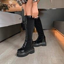 Женские сапоги до колена byqdy обувь из натуральной кожи 34