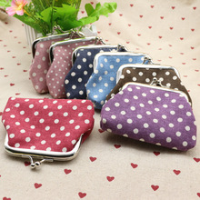 Coin Purse Clasp Small Button-Pocket Credit-Card-Holder Women Metal Dot Two Key Canvas-Fabric