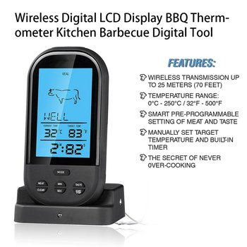 2021 Black Wireless Digital LCD Display BBQ Thermometer Kitchen Barbecue Digital Probe Meat Thermometer BBQ Temperature Tool 4