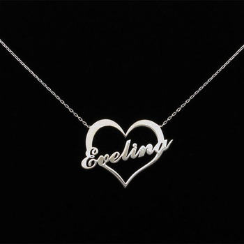 Custom Name Necklace with hollow heart Romantic Heart Necklace For Women Personalized Nameplate Love Pendant Choker BFF gorgeous bell pendant choker necklace for women