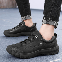 Men Casual Shoes Men lace up Martins genuine Leather Shoes lace up Work office oxfords Shoes Winter Waterproof Ankle Botas