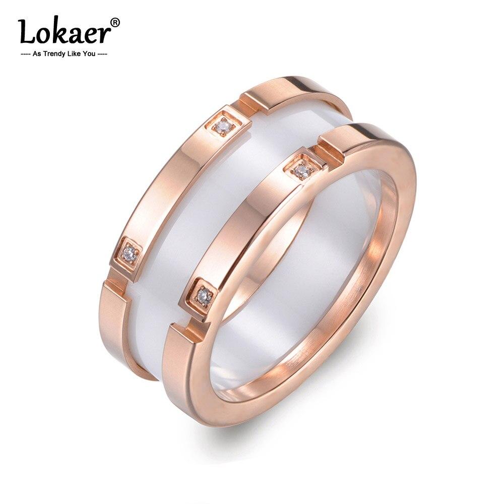 Lokaer-anneau en céramique pour femmes, Design Original, bijoux or Rose, mosaïque, strass, bague de mariage de luxe R17039