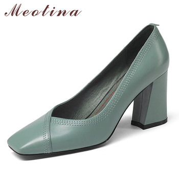 Meotina Women Shoes High Heels Natural Genuine Leather Thick Heel Office Lady Shoes Cow  Leather Super High Heel Shoes Autumn 39