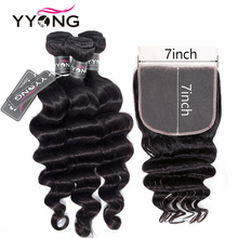 YYONG 7x7 Closure With Bundles Remy Indian Loose Deep Wave Hair Lace Frontal