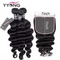 YYONG 7x7 fermeture avec paquets Remy indien lâche vague profonde faisceaux avec fermeture cheveux indiens faisceaux avec fermeture frontale en dentelle