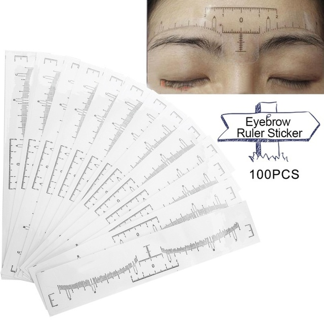 100Pcs/Set Disposable Eyebrow Ruler Makeup Microblading Eyebrow Tattoo Stencil Measurement dropshipping