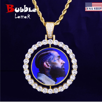 Custom Made Photo Rotating Double-Sided Medallions Pendant Necklace 4mm Tennis Chain Zircon Men's Hip Hop Jewelry 2x1.65 inch