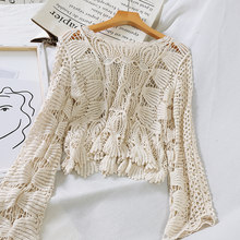 Witte Gehaakte Top Lace Lange Mouw Blouse Koreaanse Elegante Shirt Womens Tops En Blouses Hollow Out Sexy Kleding 2019 Strand tuniek(China)