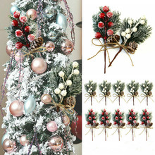 5Pcs/set Fake Snow Frost Pine Branch Cone Berry Holly DIY Xmas Tree Ornament Home Christmas Decoration Supplies Gift Supplies
