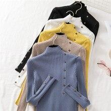 Ljsxls camisola de malha elástica alta chique botão pullovers puxar femme outono inverno feminino camisolas jumper pulôver manga longa