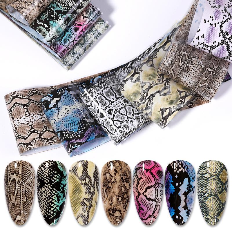10 листов, фольга для перевод на ногти под змеиную кожу и мрамор, 4*100 см, наклейки для дизайна ногтей в стиле ретро, наклейки для дизайна ногтей...