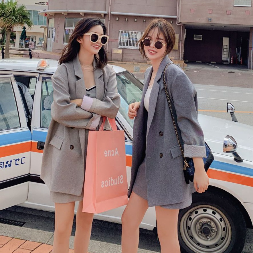 Photo Shoot CHIC Elegant Ol Beige Apricot Loose-Fit Double Breasted Suit Jacket Collar A- Line Slim Fit Skirt WOMEN'S Suit
