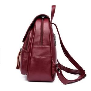 Image 3 - המוצ ילה Mujer אמיתי עור ציצית תרמיל Bagpack כתף שקיות נשים 2019 תרמיל לנערות בחזרה חבילה שק