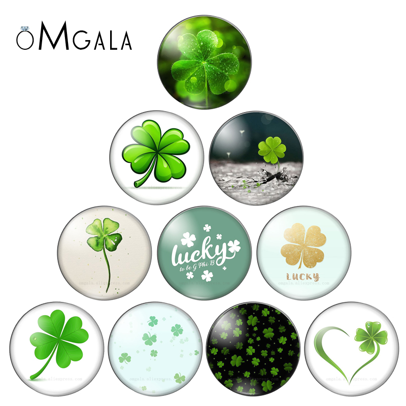 Four Leaf Clover Pictures 12MM/14MM/20MM/25mm Glass Cabochon Dome For Keychain Necklace Flatback Camo Jewelry Findings DIY Gift