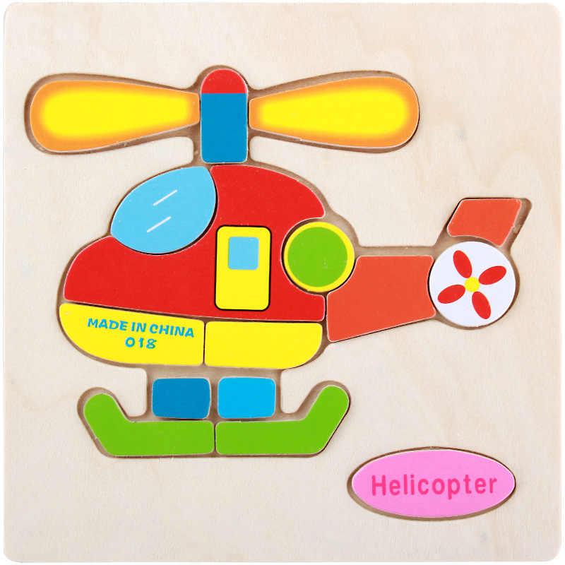 Деревянный 3D пазл вертолет развивающие, Обучающие Детские Обучающие Развивающие игрушки для детей Мультяшные головоломки