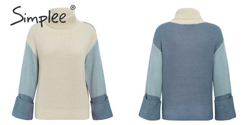 Simplee Patchwork turtleneck knitted sweaters female Casual long sleeve korean pullover jumper Women streetwear ladies sweater 19
