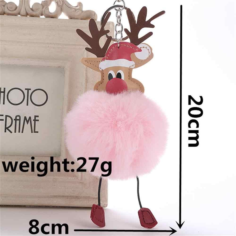Ciervo de Navidad encantador mullido pompón piel de conejo falso llavero con muñeco de peluche bolso llavero moda joyería de regalo para Navidad