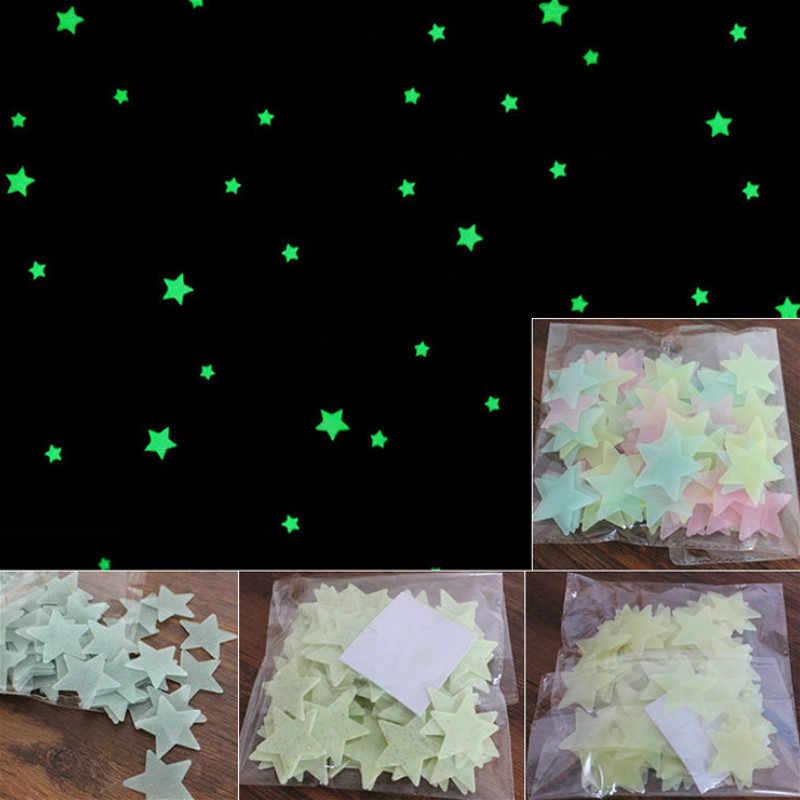 צבעוני חדש חם 100pcs 3D כוכבים זוהר בחושך הזוהר פלורסנט פלסטיק קיר מדבקות סלון בית תפאורה ילדים חדרי