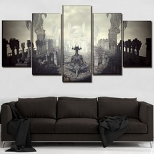 Canvas HD Printed Game Poster Home Decor Framework Wall Art Picture 5 Panel Dark Souls III Derelict Building And Demon Painting