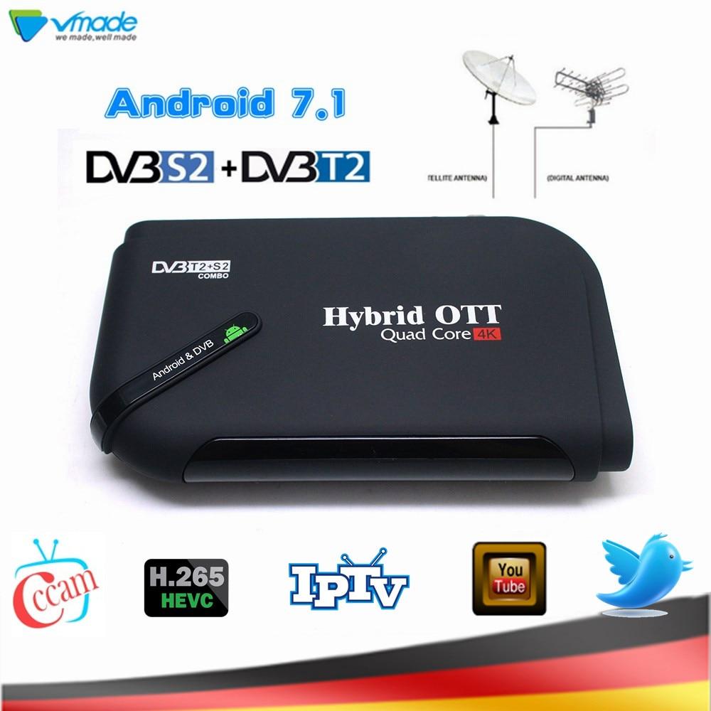 DVB-T2 DVB-S2 H.265 Android 7.1 1+8GB TV Box Terrestrial Satellite Receiver Combo Support Youtube Netflix Smart Media Player