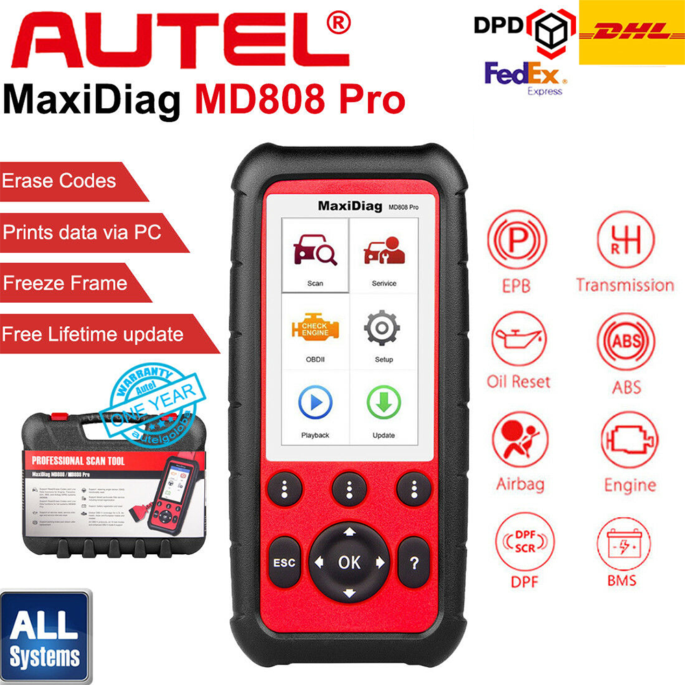 Autel MaxiDiag MD808 Pro All System SRS/ABS/Oil Reset OBD2 Diagnostic Tool Car Code Reader Scanner vs MaxiCheck Pro MD805 MD802 image