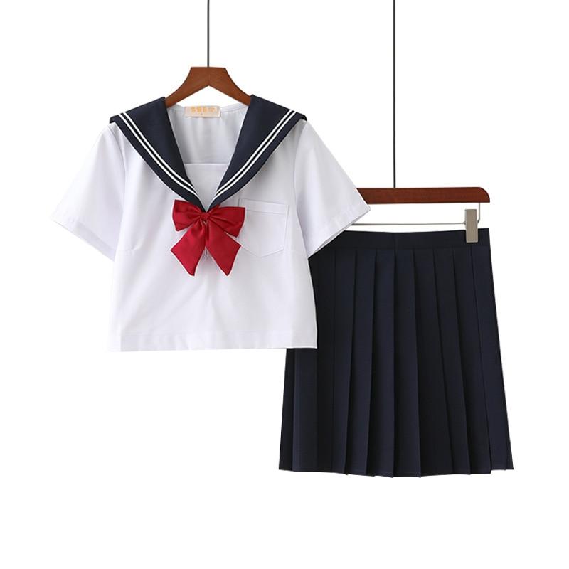 Hot Sale  Anime School Uniform Cosplay Costume Japanese School Girl Cosplay Sailor Suits JK Uniforms Classic Color 2 Pcs/set