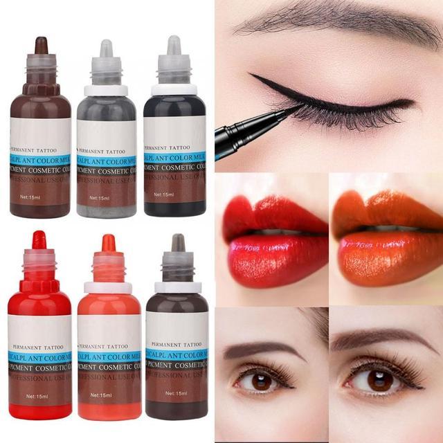 タトゥーインク 15 ミリリットル/ボトル眉毛リップ植物色素永久顔料インク Microblading 化粧品ツール