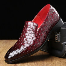 Merkmak Fashion Men Shoes Pointed Toe Dress Casual British Style Weave Flats Big Size Party Wedding Footwear Leather Shoes Man(China)