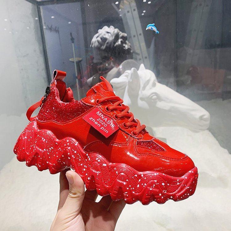 Red Black Platform Sneakers Women Shiny