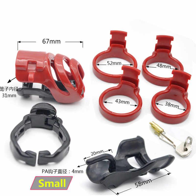 3d 디자인 수지 pa 자물쇠를 가진 작은 남성 순결 장치, 4 개의 남근 반지, 남근 자물쇠, bdsm 성 장난감을 가진 수탉 감금소
