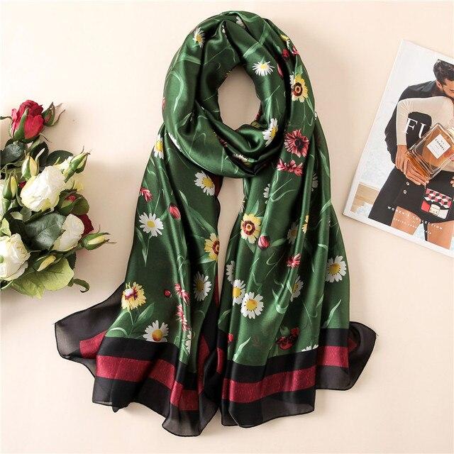 New Fashion Pure Silk Scarf Women Luxury Brand Designer Daisy Florals Printed Foulard 100% Natural Silk Shawls Scarves