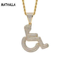 Public Interest Handicapped Gold and Silver Micro Out Pendant Necklace Jewelry with Cubic Zirconia Stone