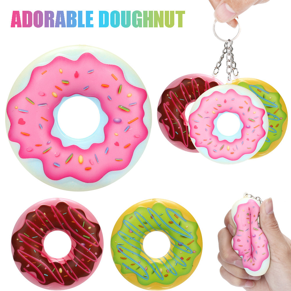 8cm Elastic Environmentally PU Squishies Doughnut Cream Scented Keychain Stress Relief Toys Squeeze Toys Cute Slow Rising