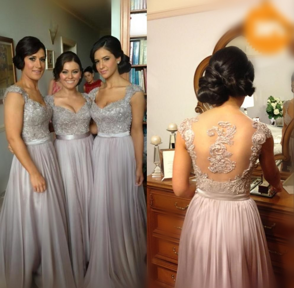 Cheap Long Chiffon Bridesmaid Dresses 2015 Sexy Backless Sweetheart Cap Sleeves Special Back Gown Custom Made A-line Beading