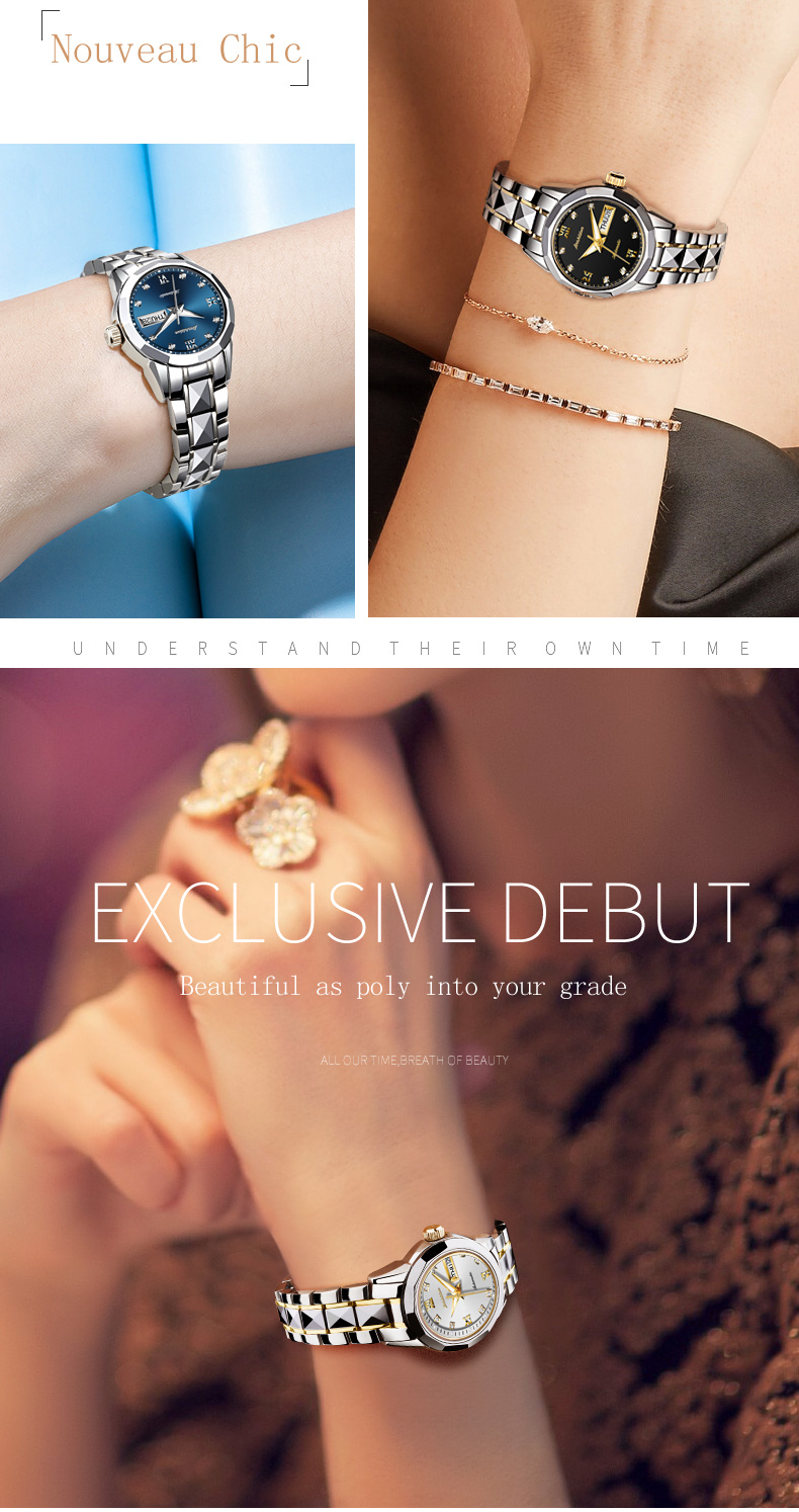 dwaterproof água pulseira de aço inoxidável relógio mecânico feminino moda