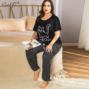 4XL Plus Size Women Summer Nice Cats Cartoon Printing Pajama Sets Short Sleeve Pajamas Soft Pyjamas Sleepwear Autumn Homewear - discount item  36% OFF Women's Sleep & Lounge