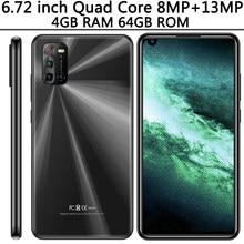 Смартфон с распознаванием лица 10i, 6,72 дюйма, Android, 4 + 64 ГБ, 4 ядра, 8 + 13 МП, фронтальная/задняя камеры