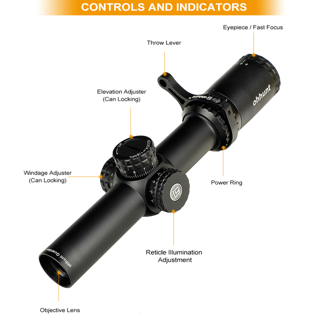 ohhunt Guardian 1-6X24 IR Hunting Riflescopes Compact Glass Etched Reticle llluminate Turrets Lock Reset Tactical Optical Sight 2