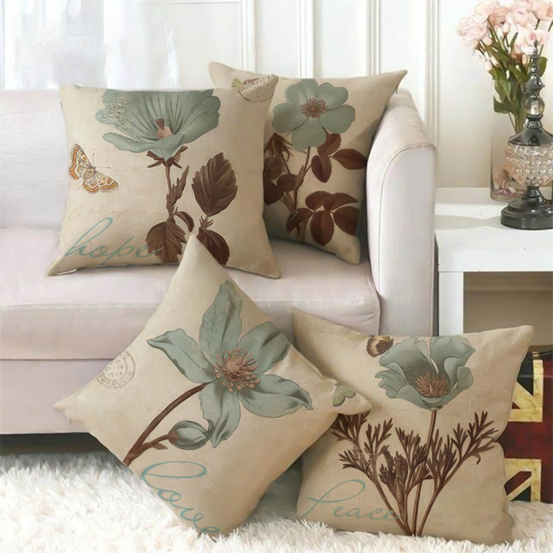 High Quality Vintage Oil Painting Flowers Cushion Cover European Retro Birds And Flowers Cushion Cover Beige Linen Pillow Case