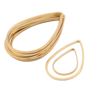 цена на 50pcs Raw Brass Gold Tone Teardrop Earrings Connectors Geometric Circle Frame Linker Charms For Diy Drop Earrings Jewelry Making